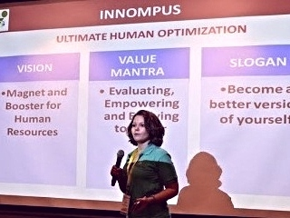 Innompic Games presentation of mega-innovation INNOMPUS by Russian team vision, value mantra slogan
