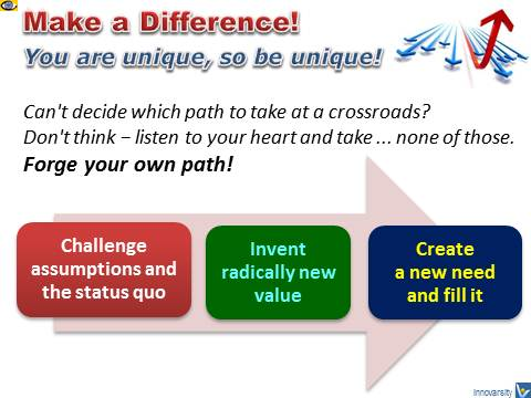 Make a Difference! Forge your own path - challenge status quo, invent, create need