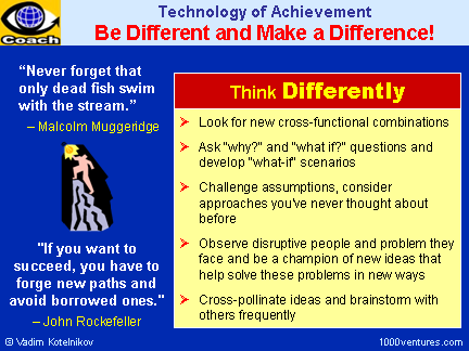 Be different and make a difference! - Tchnology of Achievement and Success Secrets