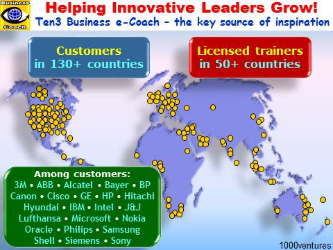 Ten3 Business e-Coach - inspiration and innovation unlimited - customers and licensed trainers