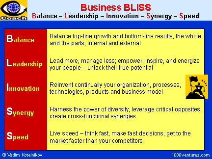 Balance: Business BLISS ; Balance + Leadrship + Innovation + Synergy + Speed