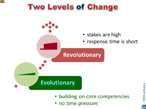 Revolutionary Change vs. Evolutionary Change - how to choose
