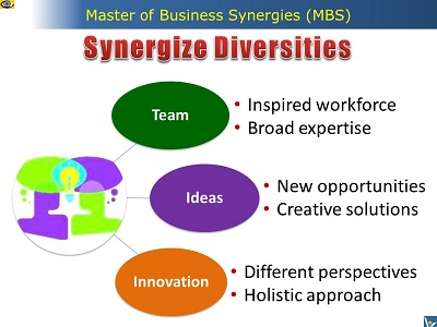 Synergize Diversities: Synergistic Team, Ideas, Innovation, Master of Business Synergies, MBS, e-coach