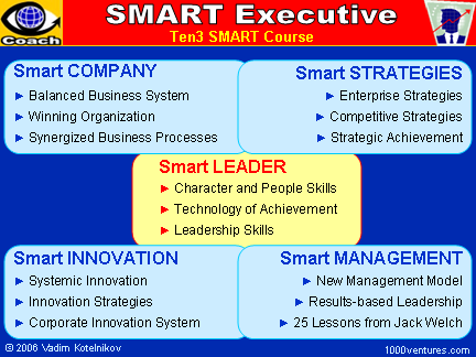 SMART EXECUTIVE, TOP MANAGER, CORPORATE LEADER (Business Training, Ten3 Mini-course): Smart Leader, Smart Company, Smart Strategies, Smart Management, Smart Innovation