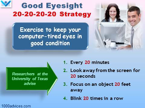 Good Eyesight 20-20-20-20 Strategy To Keep Computer-tired Eyes
