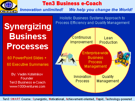 Business Process Management: SYNERGIZING BUSINESS PROCESSES (Ten3 Mini-course): EBPM, Lean Production, Quality Management, Innovation Process, Continuous Improvement