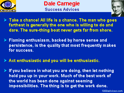 Dale Carnegie. Quotes on Success, Achiement, Passion