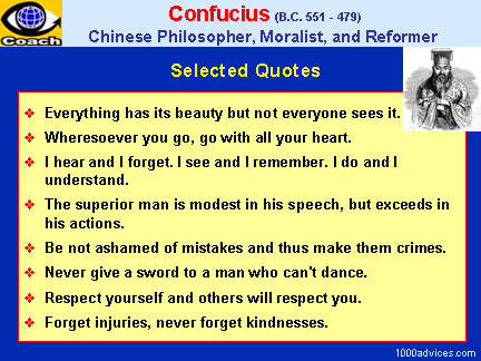 confucius and his teachings Let us examine character development and self-improvement in confucius' teachings and then explore his descriptions of goodness and the truly better person character development and self-improvement the dominant subject matter in confucius' teachings was how to become a good and virtuous person by improving one's own character.