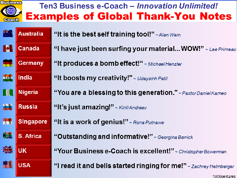 Ten3 Business e-Coach - best source of inspiration for life and business - global Thank-You Notes