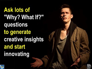 Creativity Innovation tips Ask Why? What If? questions to generate creative insights and start Innovating Dennis Kotelnikov Vadim