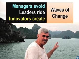 Best chnage quotes Waves of Change manageers avoid leaders ride innovators create Vadim Kotelnikov
