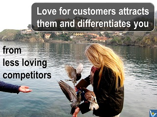 Love for customer quotes Vadim Kotelnikov, differentiate from compeitors, photogram Irina, pigeons