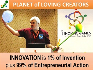 Innovation is 1% invention plus 99% entrepreneurial action Vadim Kotelnikov quotes