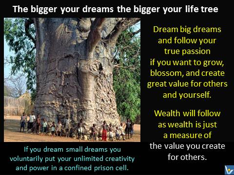 The bigger your dreams the bigger your life tree. Dream big dreams and follow your true passion if you want to grow, blossom, and create great value for others and yourself. Wealth will follow as wealth is just a measure of the value you create for others. Vadim Kotelnikov quotes, financial success