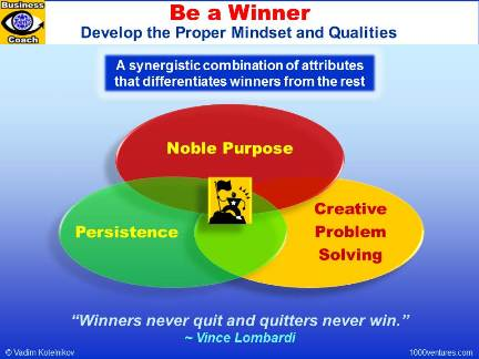 WINNER. 3 Qualities: Noble Purpose, Persistence, Creative Problem Solving